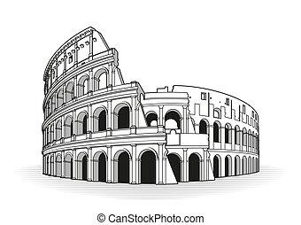 ローマ, いたずら書き, コロシアム, 手, 引かれる, アイコン, アウトライン