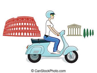 ローマ, 上に, a, スクーター
