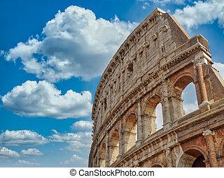 ローマ, 雲, イタリア, 空, colosseum, 青