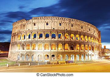 ローマ, colosseum, イタリア, 夕闇