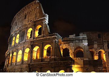 ローマ, colosseum, イタリア, 夜