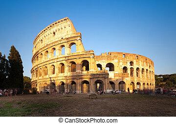 ローマ, colosseum, イタリア, 日没