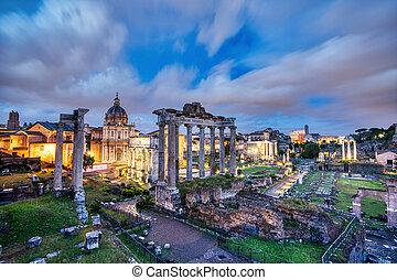 ローマ, romanum, フォーラム, 照らされた, 夕闇