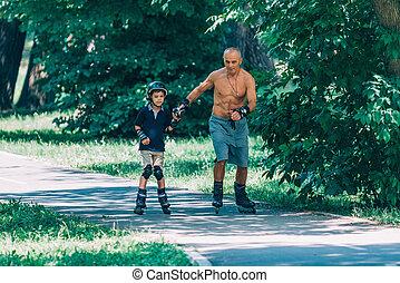 ローラースケート, 公園, ∥で∥, 祖父