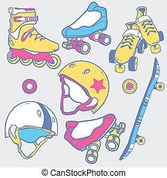 ローラー スケート, スケートボード, 車輪, セット, ヘルメット