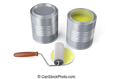 ローラー, ペンキの 缶, 黄色, ブラシ