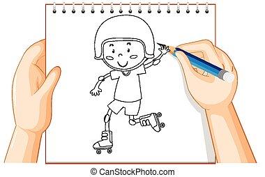 ローラー, 遊び, スケート, 男の子, 執筆, アウトライン, 手