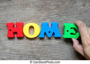 ローン, e, カラフルである, 抵当, アルファベット, 家族, プラスチック, 特性, 木, (concept, ownership), 背景, 満たしなさい, 家, 把握, 手, 夢, 単語, 家, 幸せ