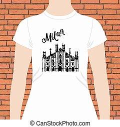 ワイシャツ, テキスト, ミラノ, デザイン, 教会, 白