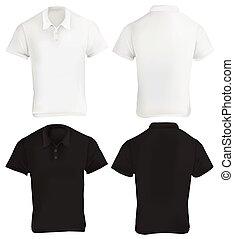 ワイシャツ, デザイン, テンプレート, ポロ, 黒, 白