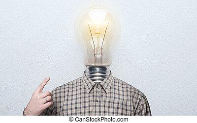 ワイシャツ, ライト, instead, head., bulb., 電球, 人