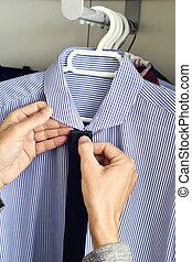 ワイシャツ, 戸棚, 若い, 選択, タイ, 人