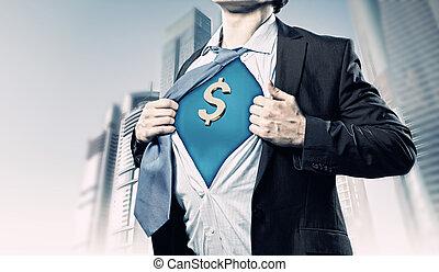ワイシャツ, 提示, 下に, スーツ, ビジネスマン, スーパーマン
