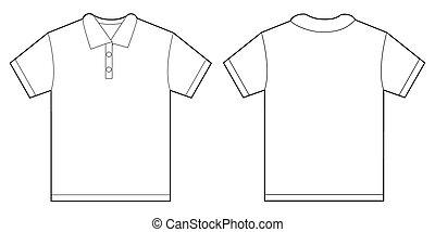ワイシャツ, 男性, デザイン, テンプレート, ポロ, 白