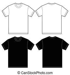 ワイシャツ, 男性, 黒, テンプレート, デザイン, 白