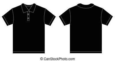 ワイシャツ, 男性, 黒, テンプレート, ポロ, デザイン