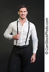 ワイシャツ, 若い, 優雅である, 微笑の人, 白, サスペンダー