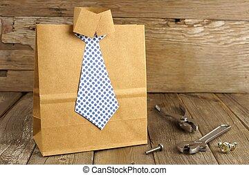 ワイシャツ, 贈り物, 父, ハンドメイド, 袋, 木, 背景, タイ, 道具, 日