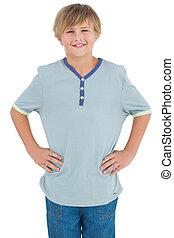 ワイシャツ, 青, 微笑, 子供, 若い
