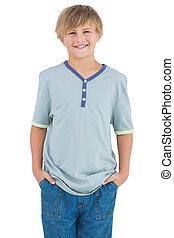 ワイシャツ, 青, 微笑, 男の子, 若い