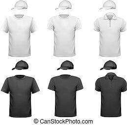 ワイシャツ, cup., 男性, イラスト, ベクトル, 黒, デザイン, 白, template.