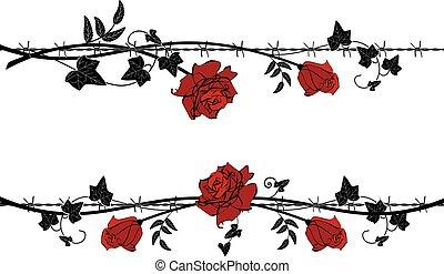 ワイヤー, とげがある, セット, 仕切り, バラ