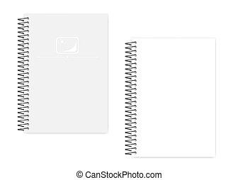 ワイヤー, ゆとり, らせん状に動きなさい, 側, ノート, a5, シート, ブランク, 白, パーホレーション