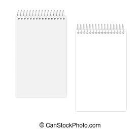 ワイヤー, カバー, -, らせん状に動きなさい, 法的, ジュニア, ノート, 白ページ, 空, 大きさ