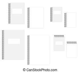 ワイヤー, カバー, a4, ブランク, -, a5, ノート, らせん状に動きなさい, セット, a6, 白, 明確なページ