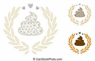 ワイヤー, 三角形, フレーム, 噛み合いなさい, ベクトル, ふん, 月桂樹, 紋章, モデル, モザイク, アイコン