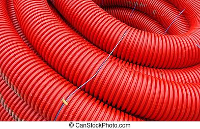 ワイヤー, 巻かれた, サイト, パイプ, 産業, 建設, 赤