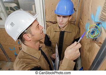ワイヤー, 指すこと, 提示, いくつか, の上, マネージャー, 建設