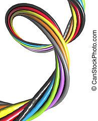 ワイヤー, 電子, 抽象的, 接続, 概念, カラフルである