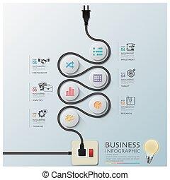 ワイヤー, 電気である, ビジネス, カーブ, 図, infographic, 線