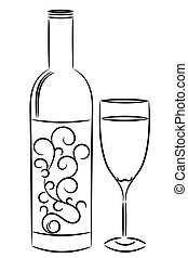 ワインのビン, そして, ガラス