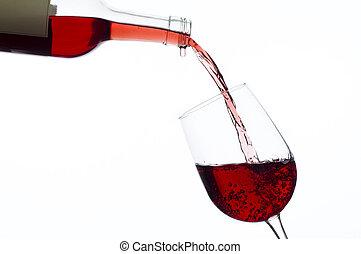 ワイン, ある, 注がれた, に, wineglass