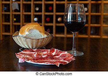 ワイン, おいしい, bread, jamon