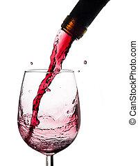 ワイン, はね返し, 上に, ガラス。