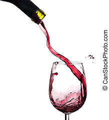 ワイン, はね返し, 上に, a, ガラス, 白, バックグラウンド。
