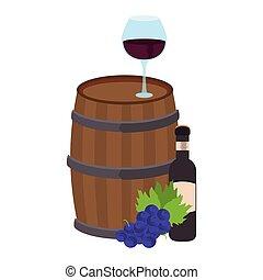 ワイン, アイコン, ガラス, 樽, 木製である
