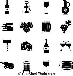 ワイン, アイコン, セット, 黒