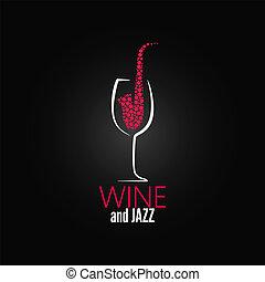 ワイン ガラス, ジャズ, デザイン, 概念, 背景