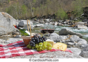 ワイン, サービスされた, verzasca, スイス, ブドウ, picnic., チーズ, 赤, 谷