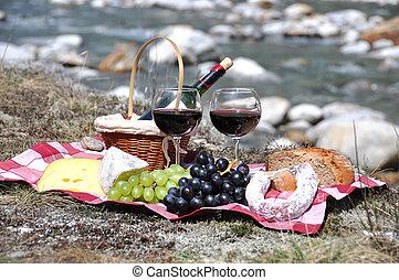 ワイン, サービスされた, verzasca, ブドウ, picnic., チーズ, 赤, 谷