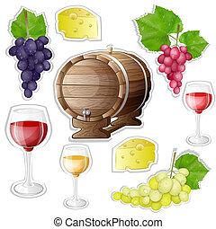 ワイン, ステッカー, 要素