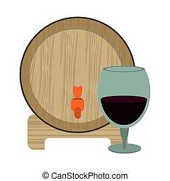 ワイン, デザイン, ガラス, 樽, 木製である