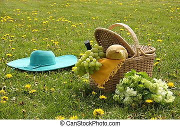 ワイン, ブドウ, bread., ピクニックバスケット, フランス語