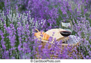 ワイン, 上に, ∥, 背景, の, ラベンダー