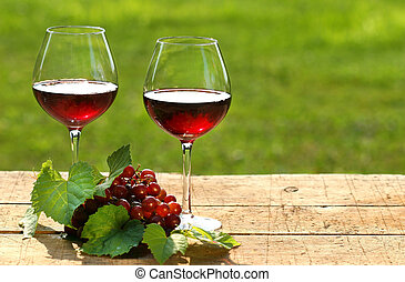 ワイン, 上に, a, 夏の日