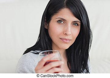 ワイン, 保有物, フルである, ガラス, 女, 赤